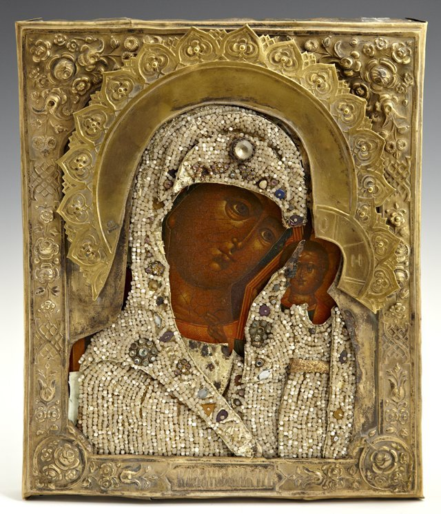 Russian Icon, 19th c., of the Virgin of Kazan, with a s