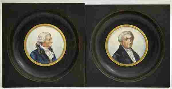 Pair of Miniature Paintings on Porcelain, 19th c., in m