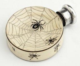Unusual English Victorian Sterling Top Ceramic Perfume