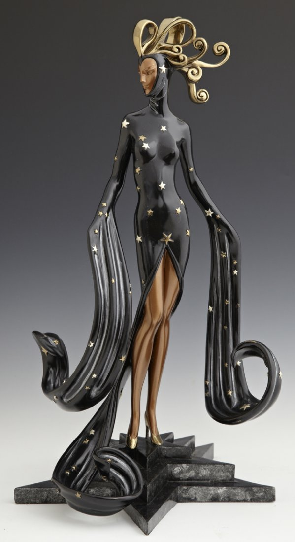 "Erte, ""Bal Tabarin,"" 1989, limited edition patinated br"