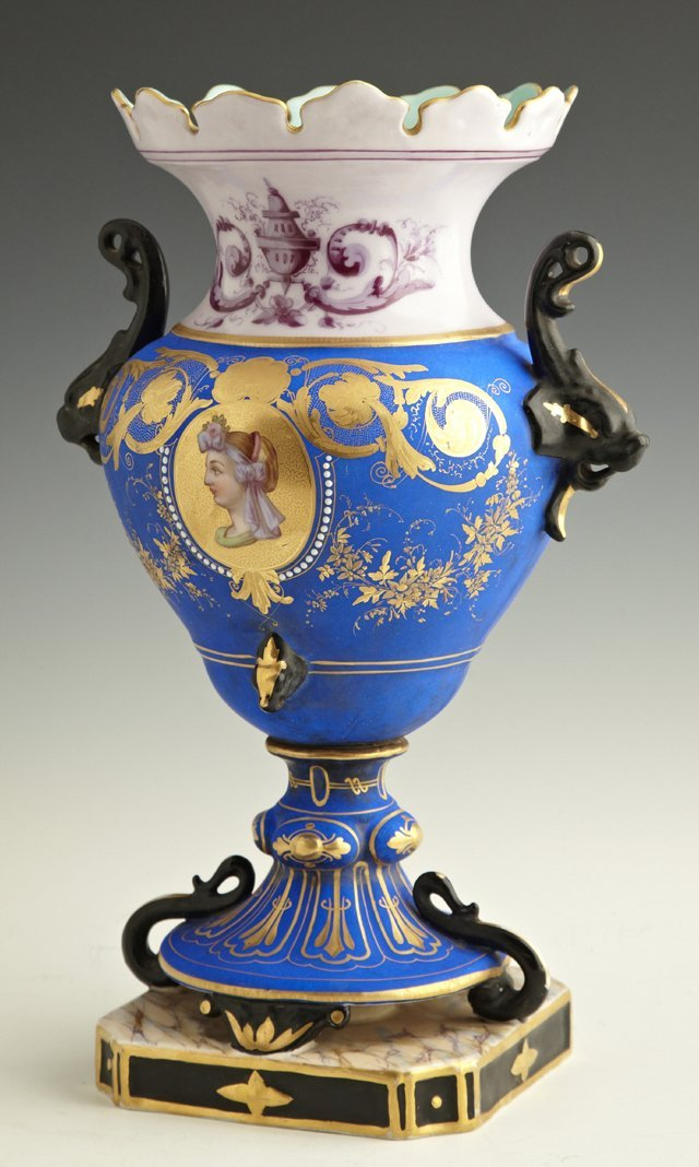 Old Paris Porcelain Blue Handled Vase, c. 1870, the sca