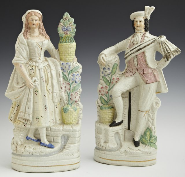 Pair of Large Polychromed Staffordshire Figures, 19th c