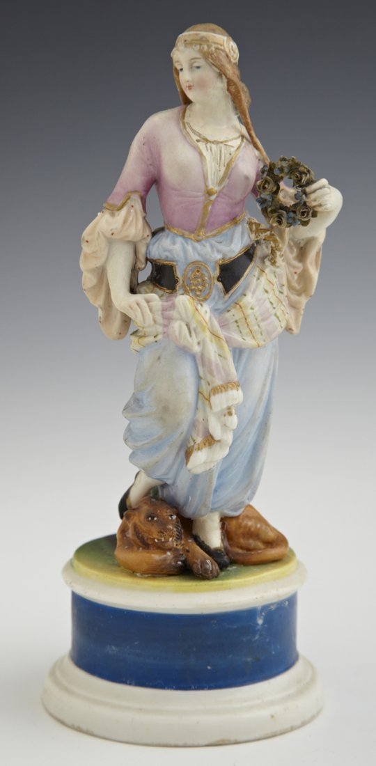 Rare German Polychromed and Parcel-Gilt Porcelain Figur