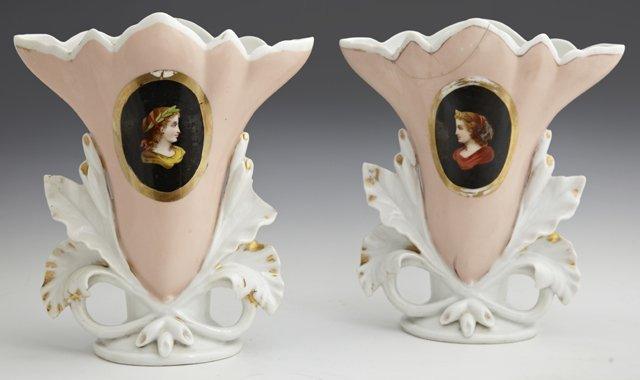 Pair of Old Paris Style Flare Vases, 19th c., each with