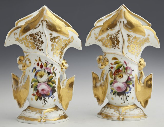 Pair of Old Paris Porcelain Flare Vases, c. 1840, with