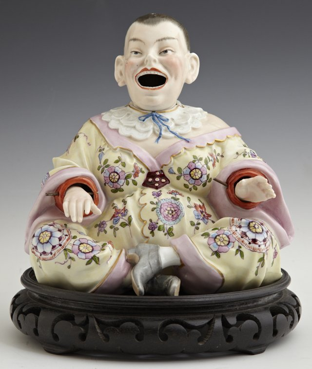 German Polychromed Porcelain Nodder Figure, late 19th c