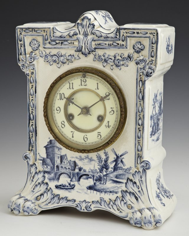 "Waterbury China ""Delft"" Mantel Clock, c. 1890, time and"