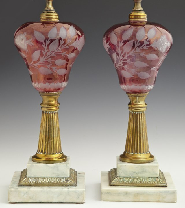 Pair of Pink Cut to Clear Oil Lamps, 19th c., the shape