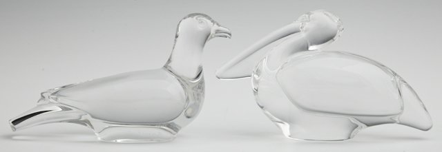 Two Baccarat Crystal Bird Paperweights, 20th c., a peli