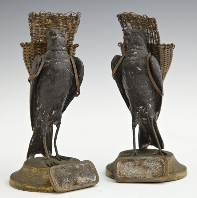 Pair of Unusual Spelter Figural Match Holders, 19th c.,