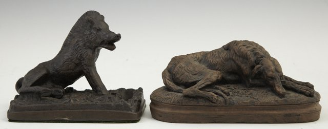 Two Patinated Cabinet Figures, 20th c., one a bronze Af