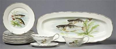 Thirteen Piece Ceramic Seafood Set 20th c by Sarragu