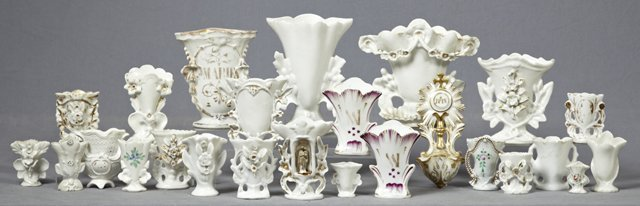 Group of 25 Pieces of French Porcelain and Bisque, 19th