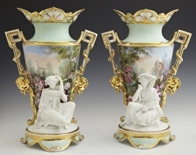 Fine Pair of Paris Porcelain and Biscuit Two-Handled Ga
