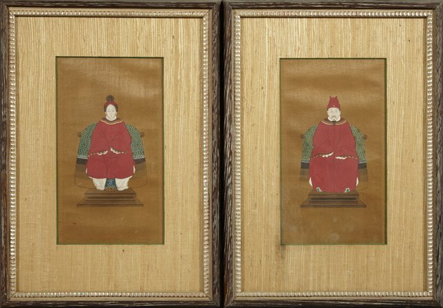 Pair of Chinese Ancestor Portraits, 19th c., oil on sil