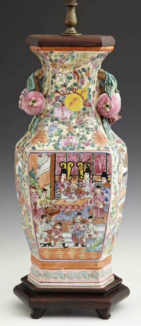 Oriental Hexagonal Famille Rose Baluster Porcelain Vase