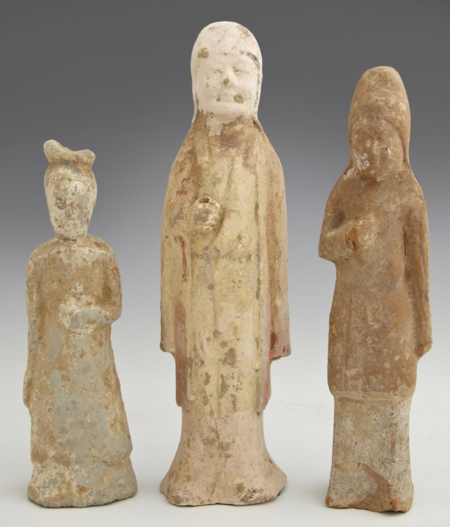 Group of Three Chinese Earthenware Tomb Figures, Tang D