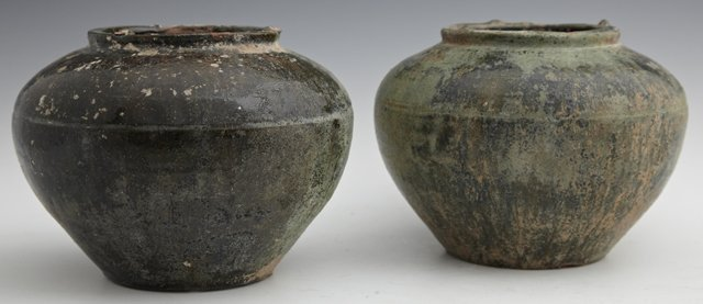 Two Chinese Provincial Glazed Baluster Storage Jars, of