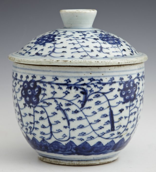 Chinese Blue and White Covered Jar, 19th c., with leaf