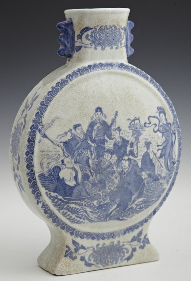 Chinese Blue and White Moon Vase, early 20th c., one si