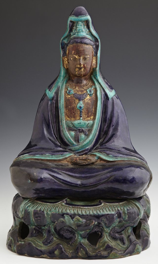 Oriental Glazed Earthenware Seated Buddha, 19th c., on