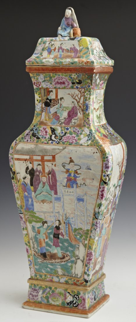Large Chinese Famille Rose Baluster Covered Vase, 19th