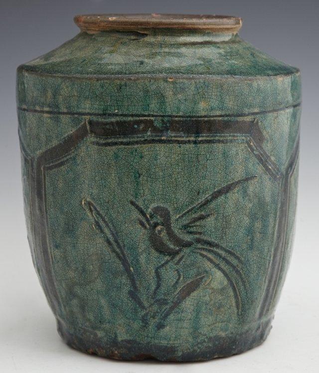 Korean Green Glazed Earthenware Baluster Vase, 19th c.,