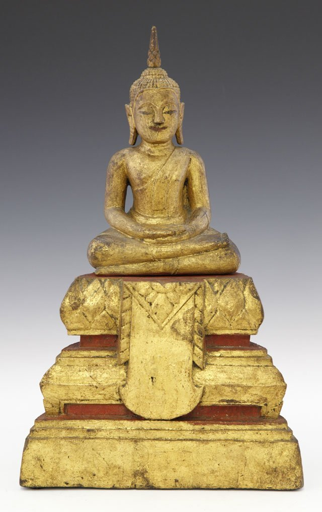 Carved Giltwood Seated Buddha, 19th c., on a stepped st