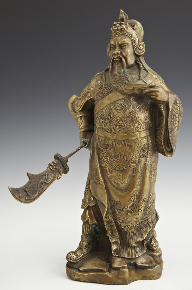 A Patinated Brass Figure of Guan Yu, the Taoist God of