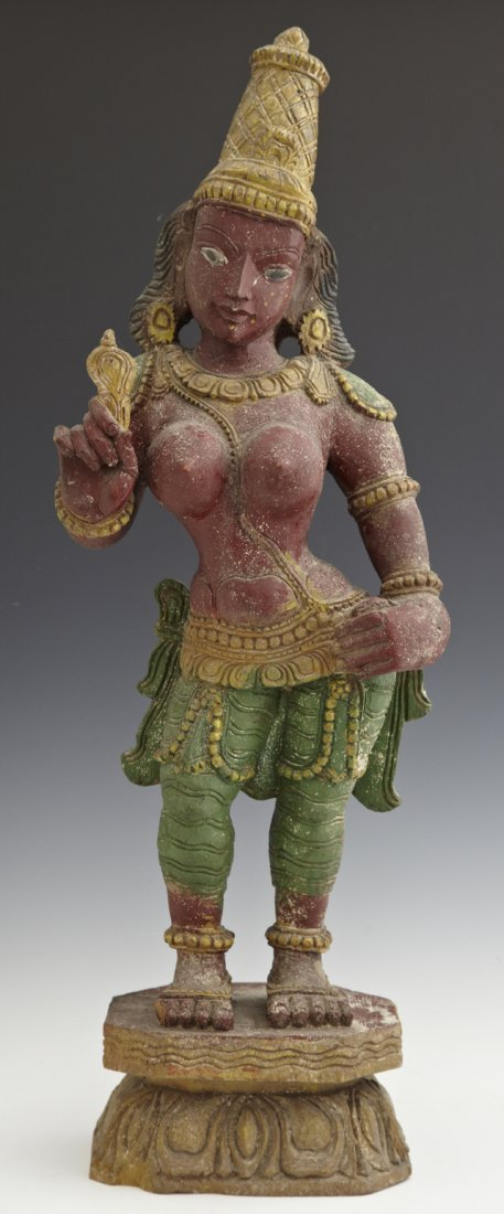 Carved and Polychromed Indian Statue of a Goddess, earl