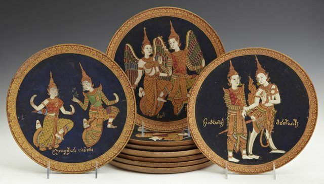 Group of Seven Thai Painted Circular Mahogany Plaques,