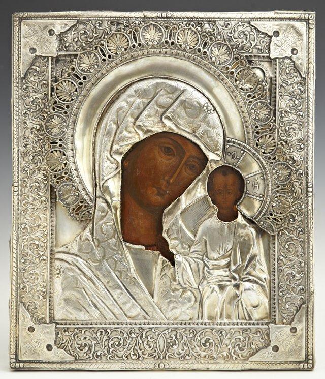 Icon of the Virgin of Kazan, Moscow, 1858, with elabora