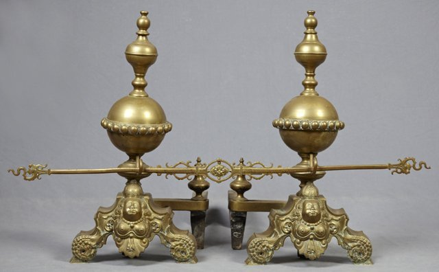 Pair of Large Louis XIV Style Bronze Andirons, 19th c.,