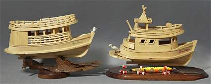Two Carved Wooden Amazon Basin Model Boats, 20th c.,, t