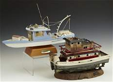 Two Carved Wooden Model Boats, 20th c., a shrimp boat b