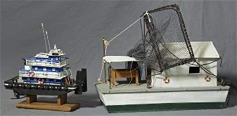 Two Carved Wooden Model Boats, 20th c., by Fred Guidry,