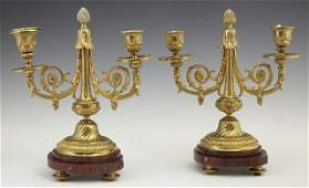 Pair of French Gilt Bronze and Marble Two Light Candela