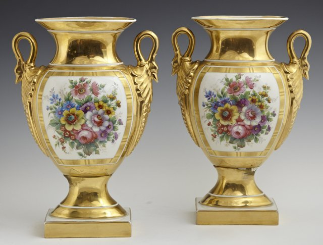 Pair of Empire Style Porcelain Vases, 19th c., of