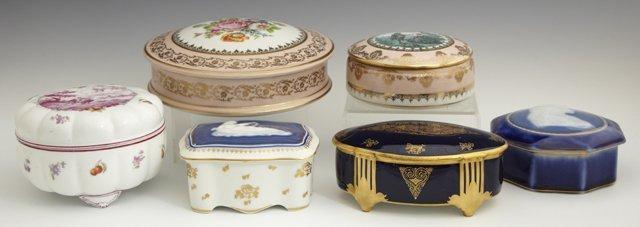 Group of Six Limoges Porcelain Covered Dresser Boxes,