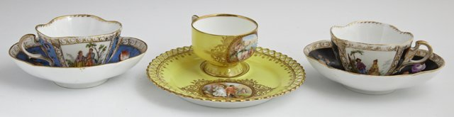 Group of Three Dresden Cups and Saucers, late 19th c.,