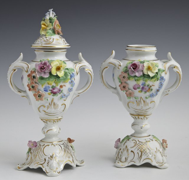 Pair of Diminutive Dresden Covered Urns, early 20th c.,
