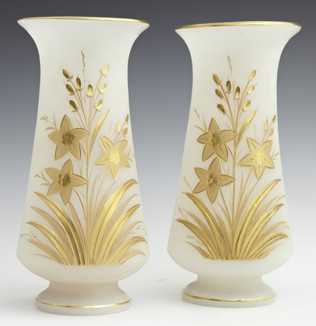 Pair of Frosted Cut Opaline Glass Baluster Vases, 19th