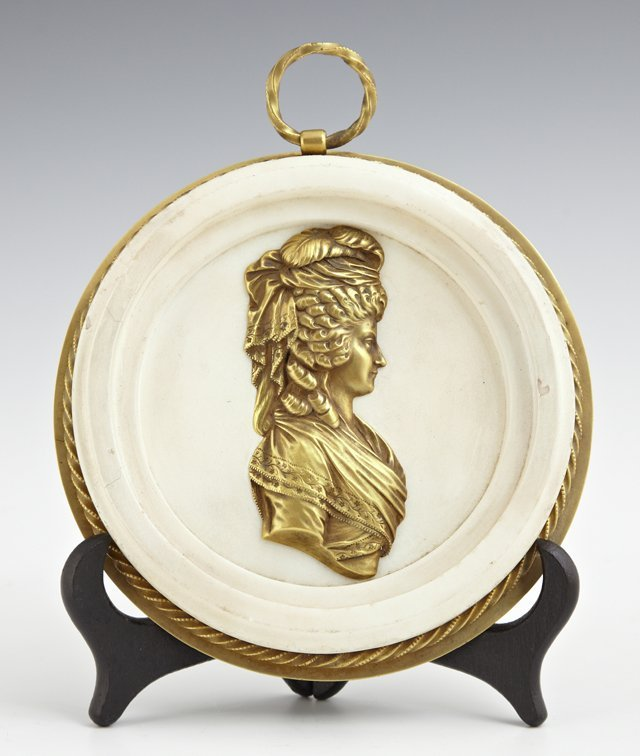 Circular White Marble and Bronze Plaque, 19th c., of