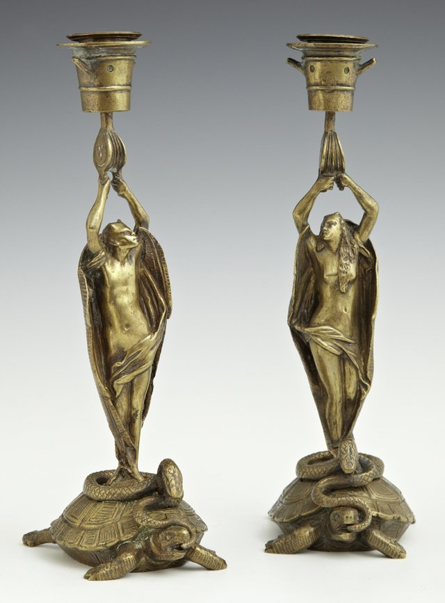 Unusual Pair of French Bronze Candlesticks, late 19th