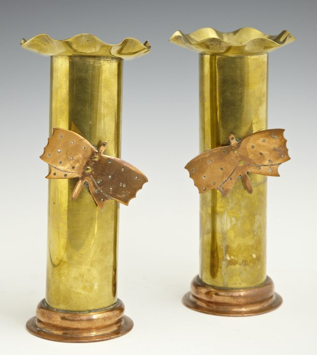 Pair of Copper and Brass Trench Art Vases, early 20th