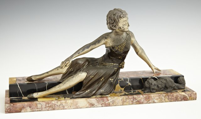 Art Deco Patinated Spelter Figure, c. 1903, of a seated