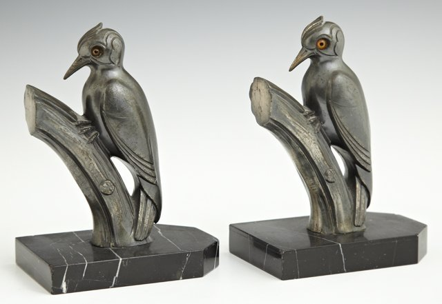 Pair of Art Deco Patinated Spelter Bookends, c. 1930,