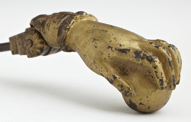 Cast Iron Door Knocker, 19th c., of hand form, the hand