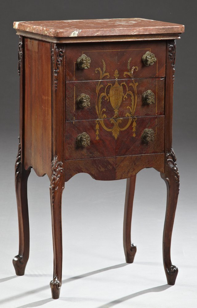 Louis XV Style Carved Mahogany Marble Top Nightstand,