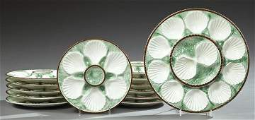 Thirteen Piece Ceramic Oyster Set early 20th c by